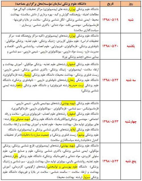 زمان و مکان مصاحبه دکتری وزارت بهداشت - 9