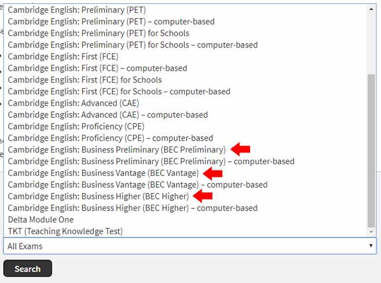 انتخاب آزمون های کتبی BEC