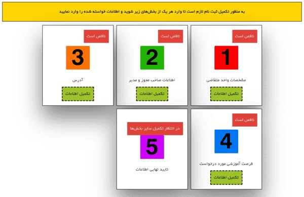 مرحله ششم ورود واحد پذیرنده به سامانه کارورزی