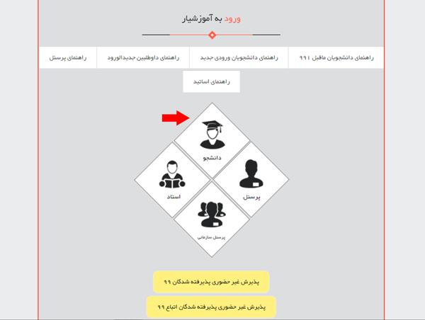 مرحله اول ورود به سامانه آموزشیار دانشگاه آزاد تهران شمال
